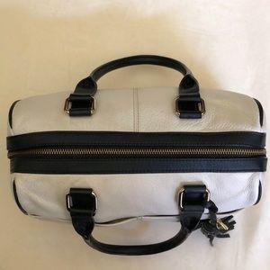 Calvin Klein black white doctor handbag gold zip